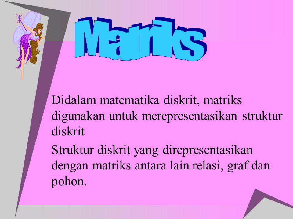 Matriks Didalam matematika diskrit, matriks digunakan untuk merepresentasikan struktur diskrit.
