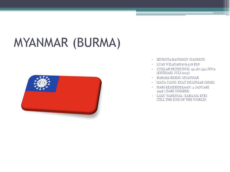 MYANMAR (BURMA) IBUKOTA:RANGOON (YANGON) LUAS WILAYAH:676,578 KM2