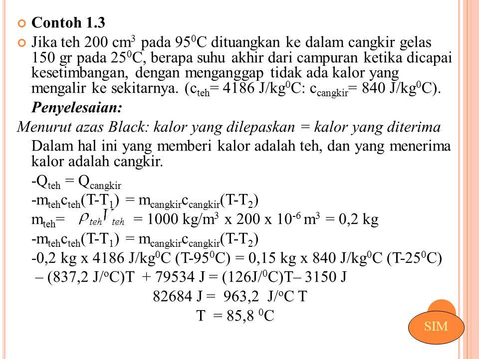 Menurut azas Black: kalor yang dilepaskan = kalor yang diterima