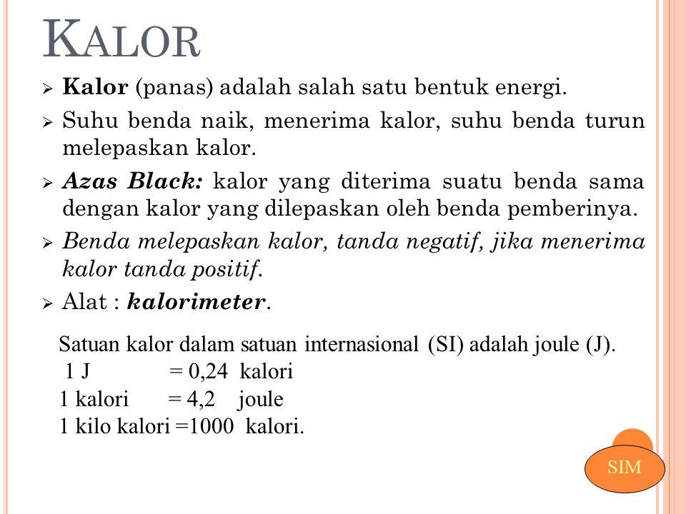 Kalor Kalor (panas) adalah salah satu bentuk energi.