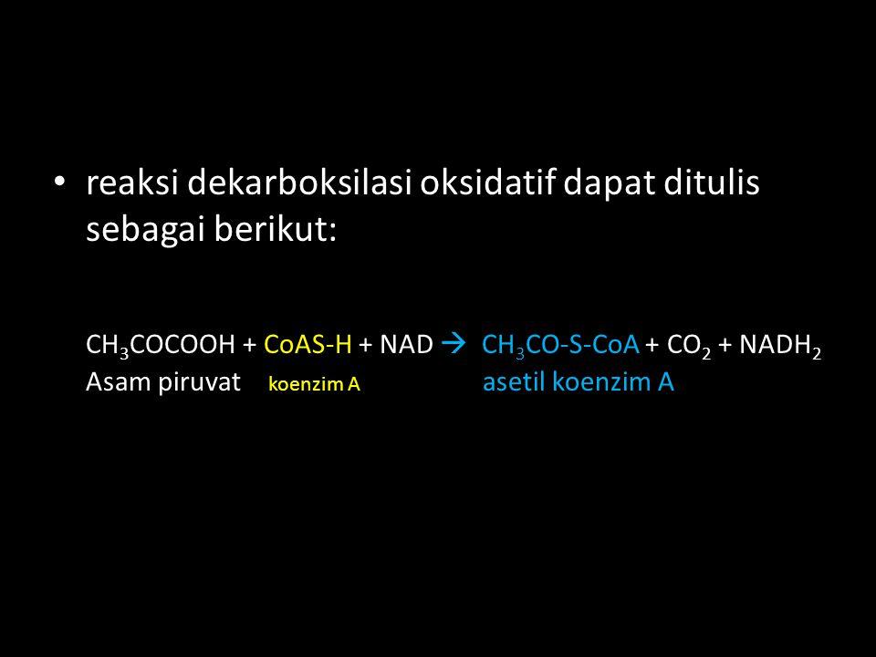 reaksi dekarboksilasi oksidatif dapat ditulis sebagai berikut: