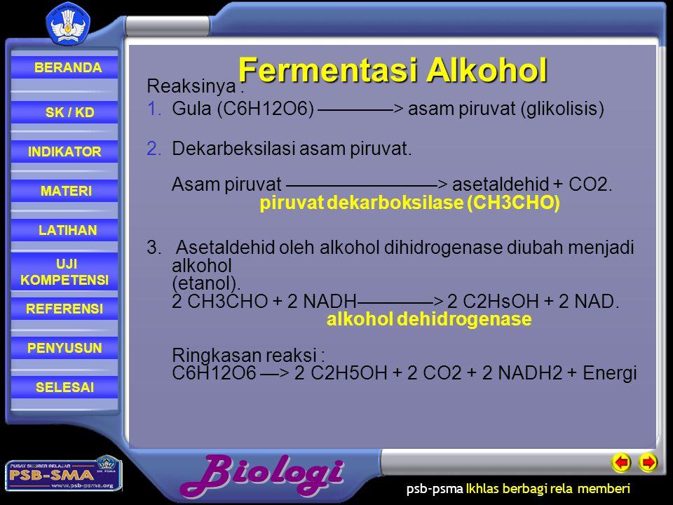 Fermentasi Alkohol Reaksinya :