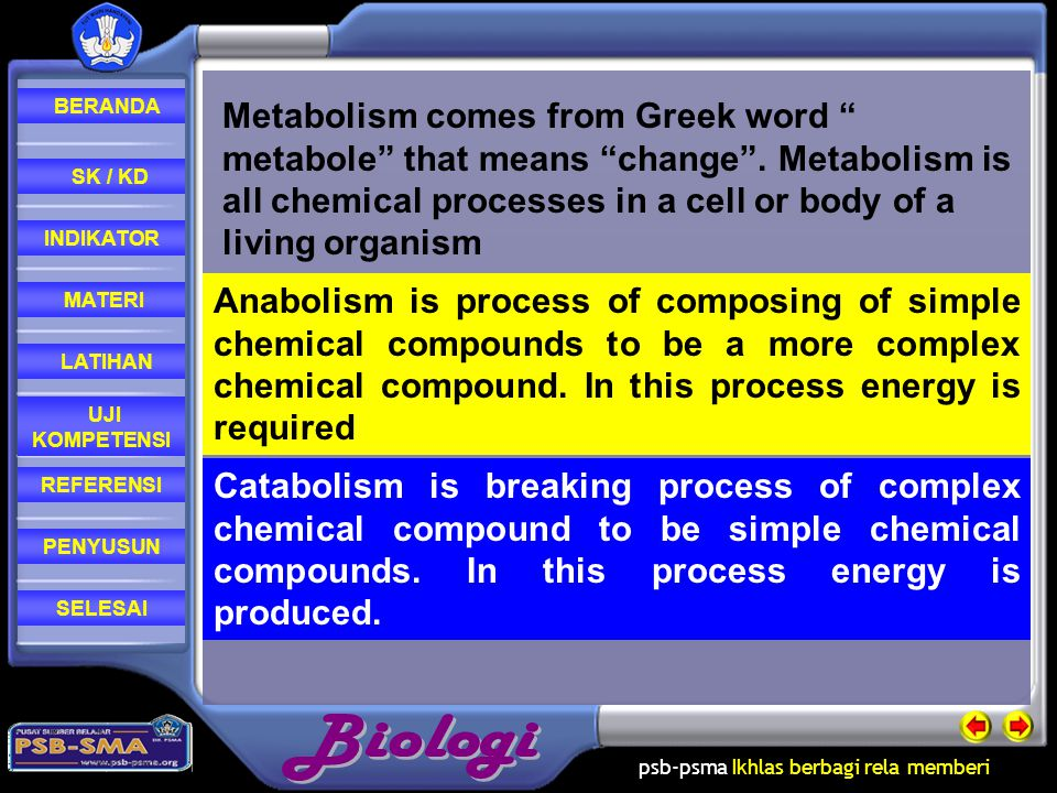 Metabolism comes from Greek word metabole that means change