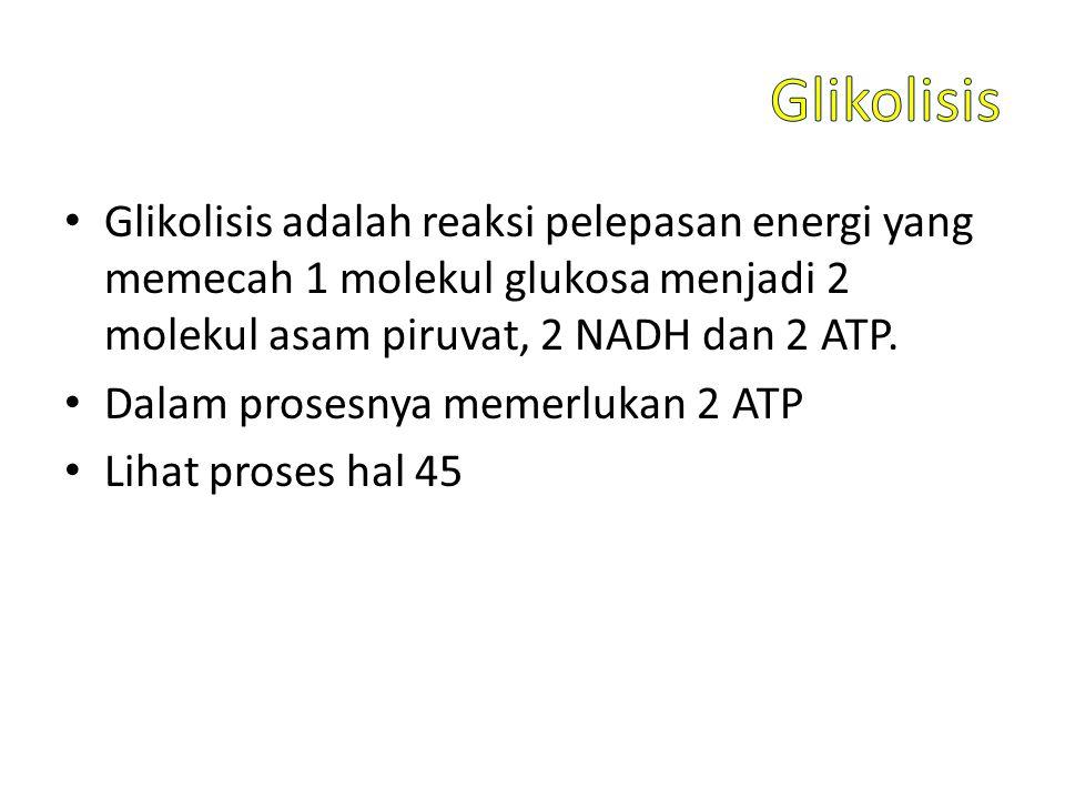Glikolisis Glikolisis adalah reaksi pelepasan energi yang memecah 1 molekul glukosa menjadi 2 molekul asam piruvat, 2 NADH dan 2 ATP.
