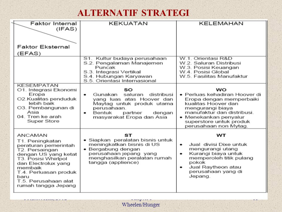 ALTERNATIF STRATEGI Prentice Hall, 2002 Chapter 1 Wheelen/Hunger