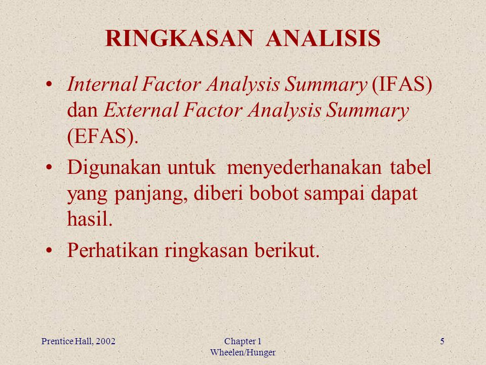 RINGKASAN ANALISIS Internal Factor Analysis Summary (IFAS) dan External Factor Analysis Summary (EFAS).