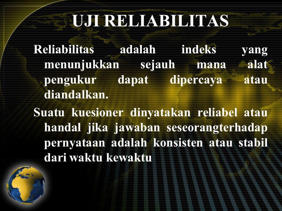 UJI RELIABILITAS Reliabilitas adalah indeks yang menunjukkan sejauh mana alat pengukur dapat dipercaya atau diandalkan.