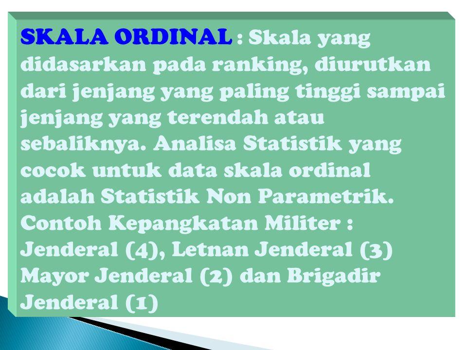 SKALA ORDINAL : Skala yang didasarkan pada ranking, diurutkan dari jenjang yang paling tinggi sampai jenjang yang terendah atau sebaliknya.