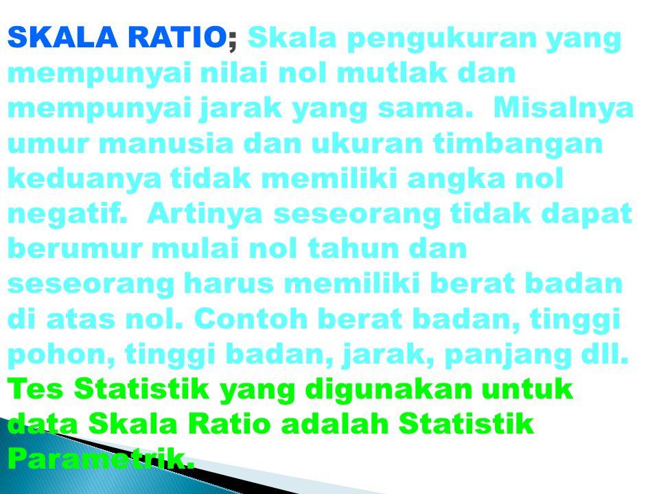 SKALA RATIO; Skala pengukuran yang mempunyai nilai nol mutlak dan mempunyai jarak yang sama.