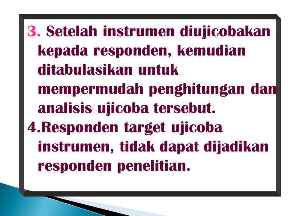 Setelah instrumen diujicobakan kepada responden, kemudian ditabulasikan untuk mempermudah penghitungan dan analisis ujicoba tersebut.