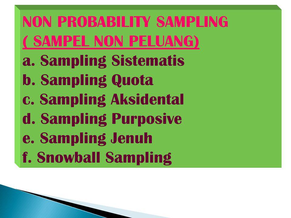 NON PROBABILITY SAMPLING ( SAMPEL NON PELUANG) a.
