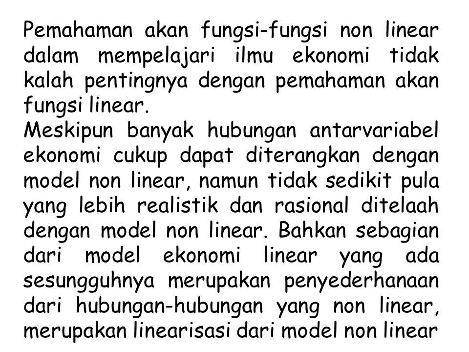 Pemahaman akan fungsi-fungsi non linear dalam mempelajari ilmu ekonomi tidak kalah pentingnya dengan pemahaman akan fungsi linear.