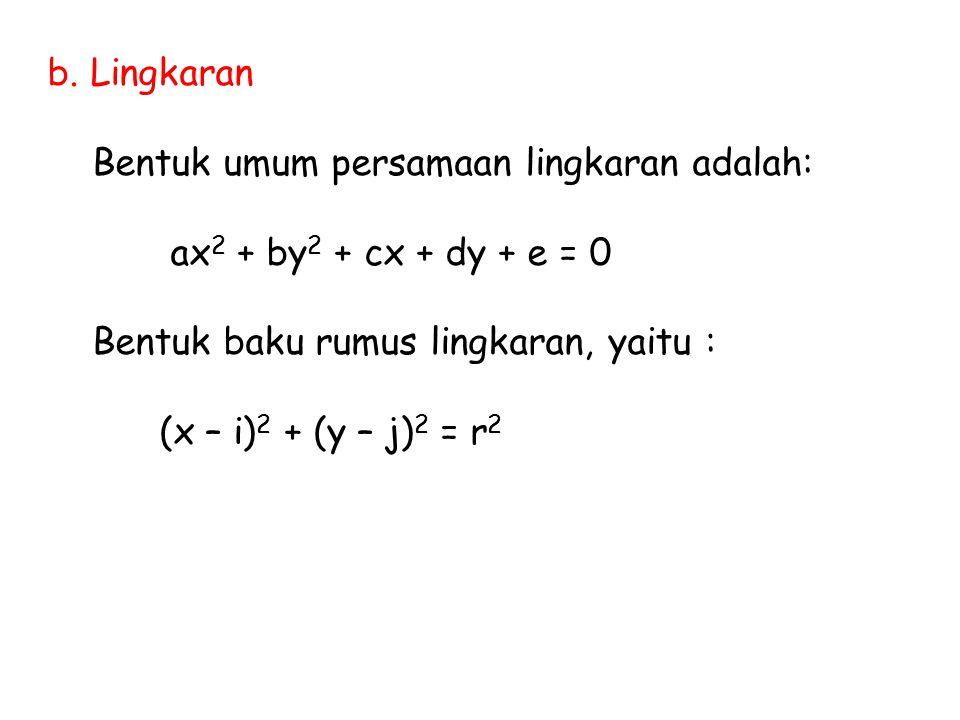 b. Lingkaran Bentuk umum persamaan lingkaran adalah: ax2 + by2 + cx + dy + e = 0. Bentuk baku rumus lingkaran, yaitu :