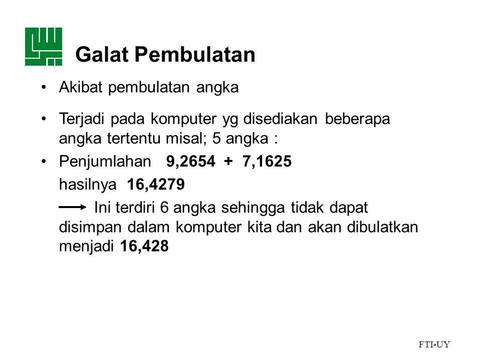 Galat Pembulatan Akibat pembulatan angka