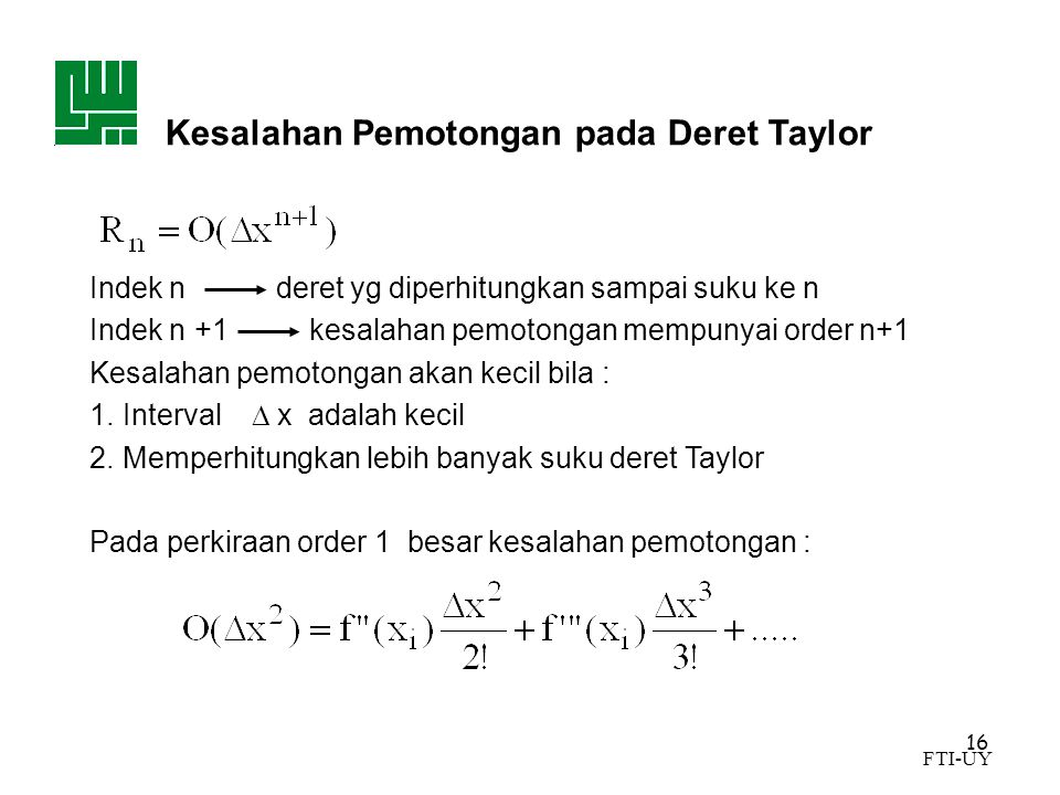 Kesalahan Pemotongan pada Deret Taylor