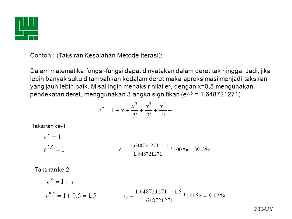 Contoh : (Taksiran Kesalahan Metode Iterasi):