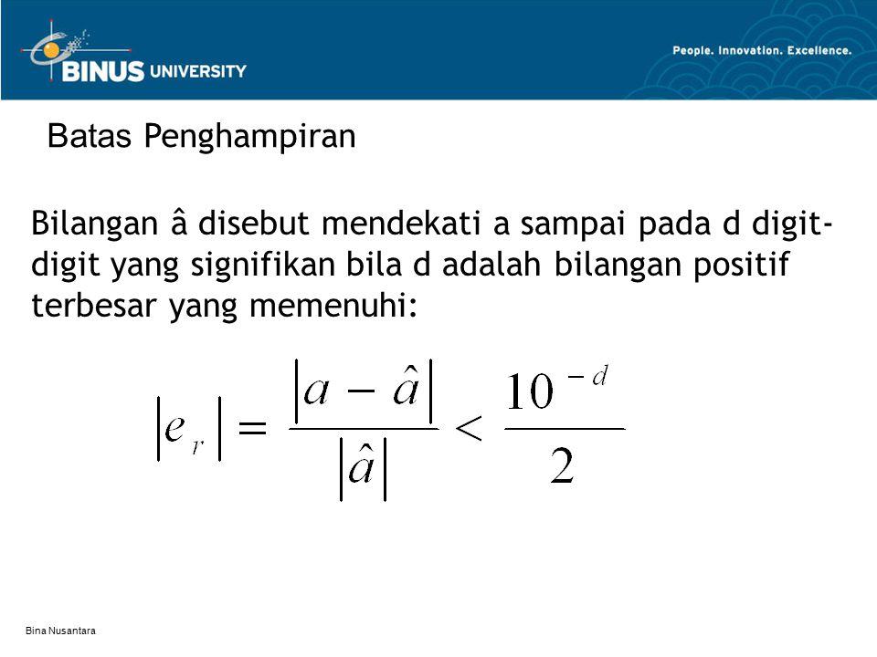 Batas Penghampiran Bilangan â disebut mendekati a sampai pada d digit-digit yang signifikan bila d adalah bilangan positif terbesar yang memenuhi:
