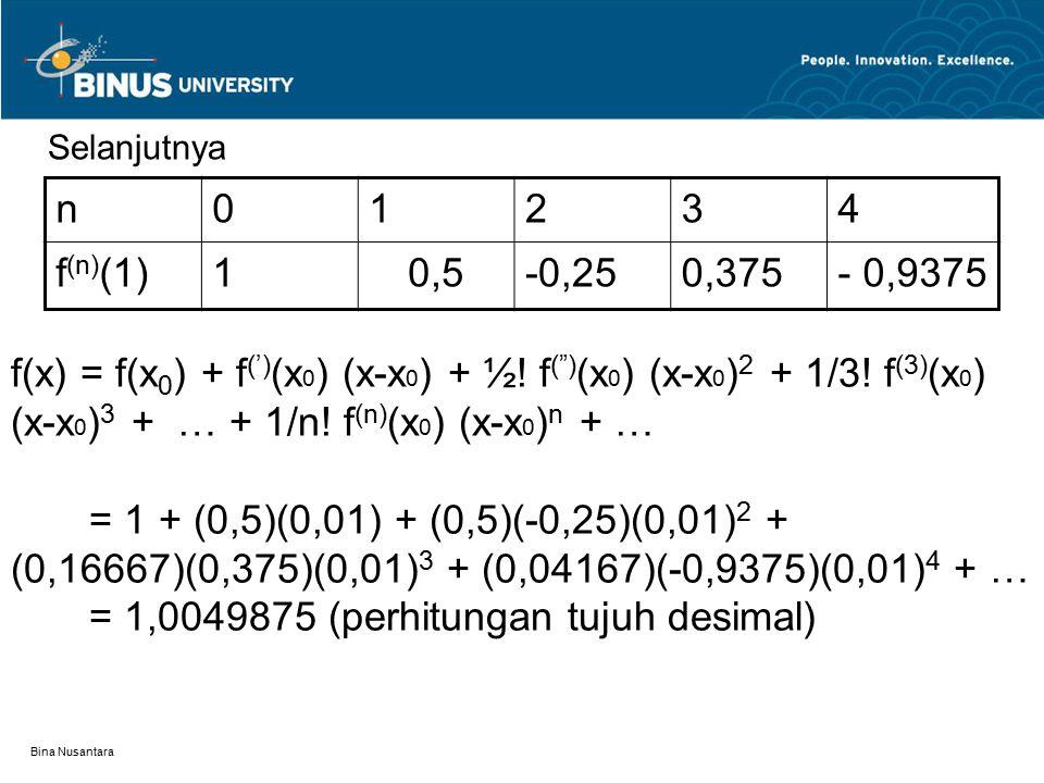 = 1,0049875 (perhitungan tujuh desimal)