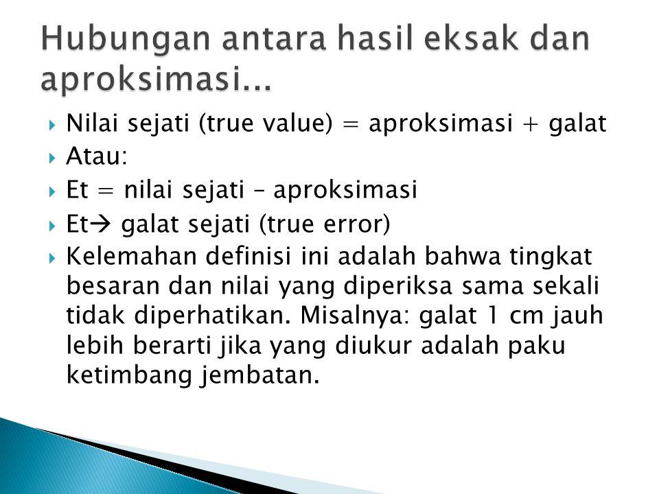 Hubungan antara hasil eksak dan aproksimasi...