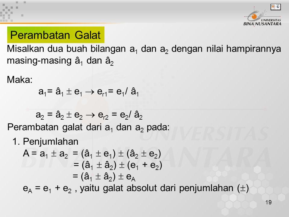 Perambatan Galat Misalkan dua buah bilangan a1 dan a2 dengan nilai hampirannya. masing-masing â1 dan â2.