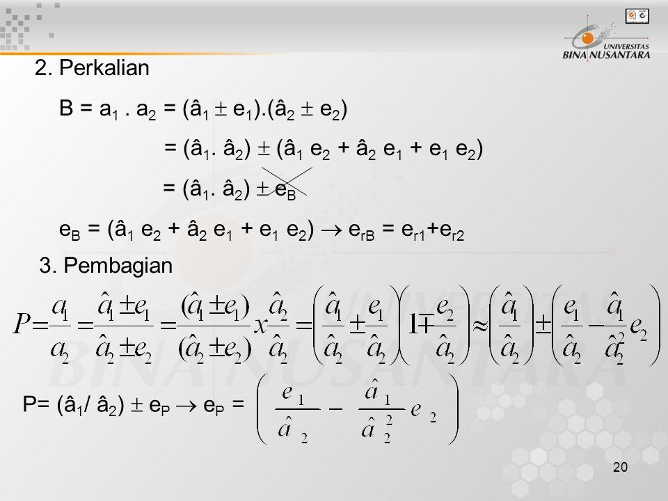 2. Perkalian B = a1 . a2 = (â1  e1).(â2  e2) = (â1. â2)  (â1 e2 + â2 e1 + e1 e2) = (â1. â2)  eB.