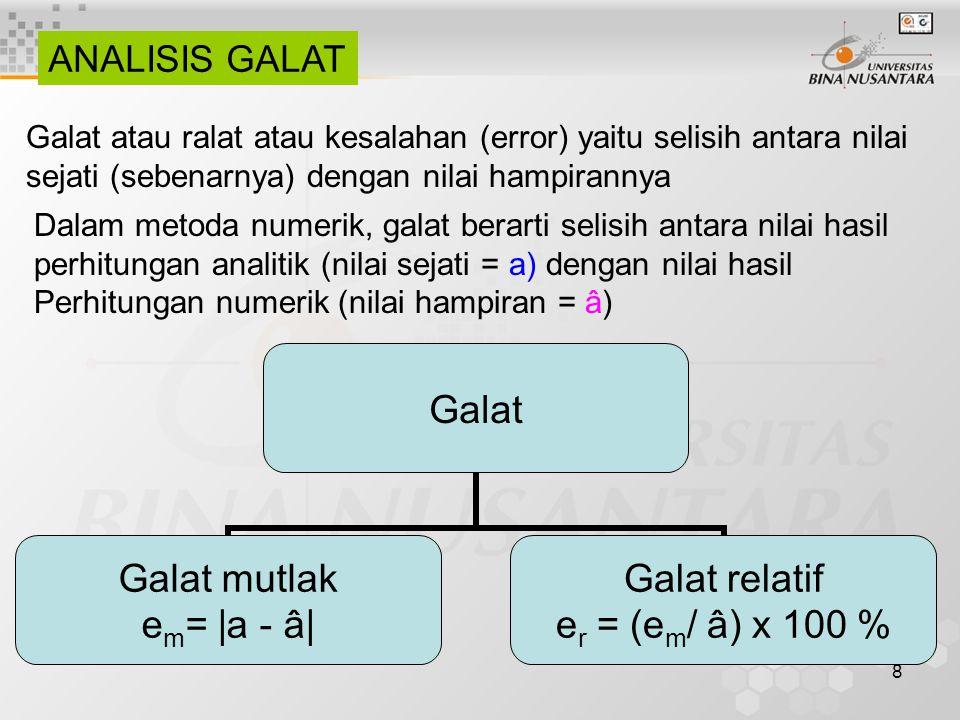 ANALISIS GALAT Galat atau ralat atau kesalahan (error) yaitu selisih antara nilai. sejati (sebenarnya) dengan nilai hampirannya.
