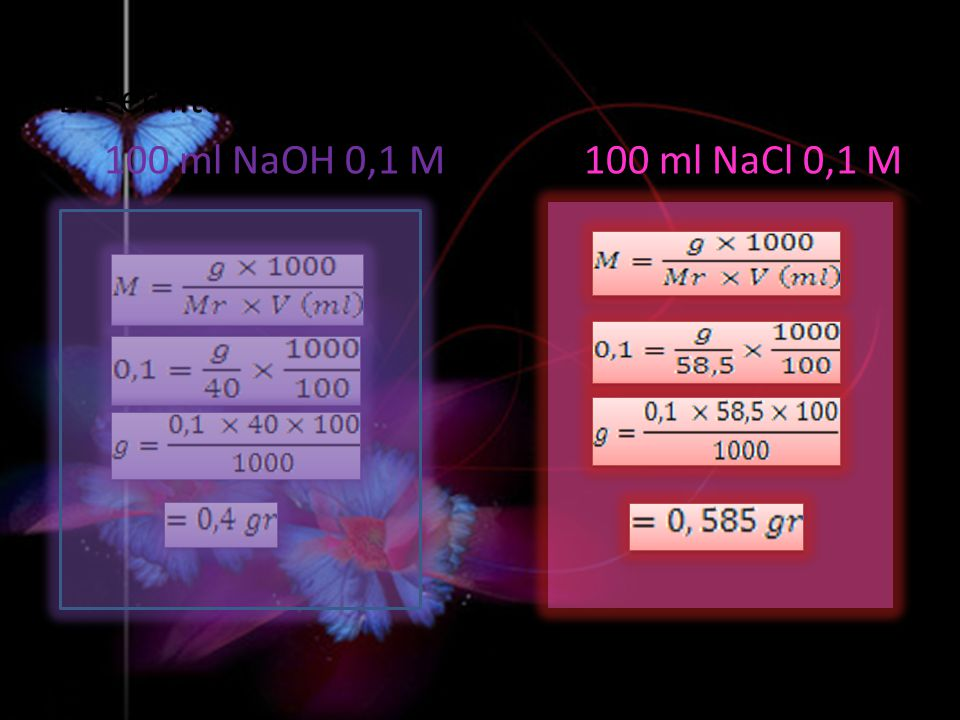E. Perhitungan 100 ml NaOH 0,1 M 100 ml NaCl 0,1 M