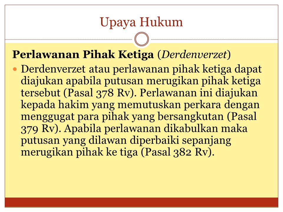 Upaya Hukum Perlawanan Pihak Ketiga (Derdenverzet)