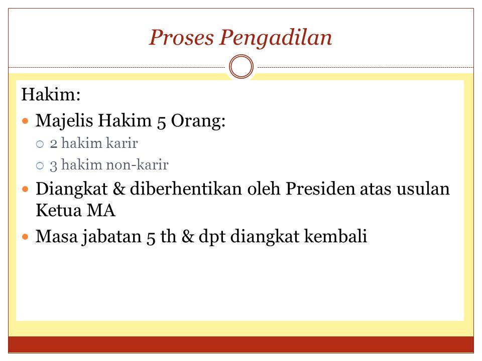 Proses Pengadilan Hakim: Majelis Hakim 5 Orang: