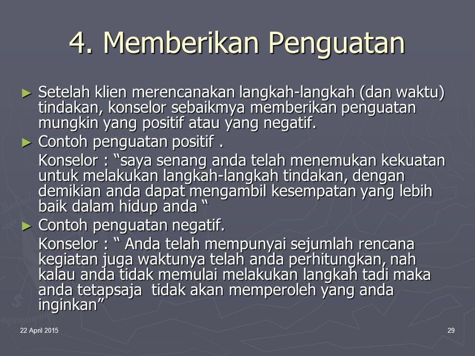4. Memberikan Penguatan