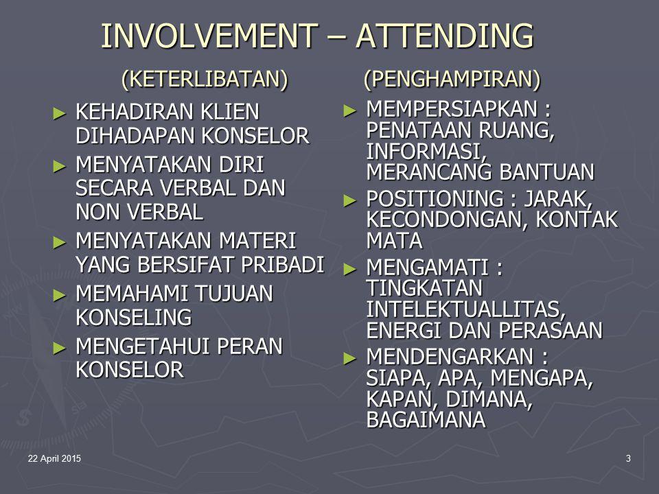 INVOLVEMENT – ATTENDING (KETERLIBATAN) (PENGHAMPIRAN)