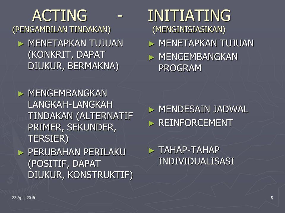 ACTING - INITIATING (PENGAMBILAN TINDAKAN) (MENGINISIASIKAN)