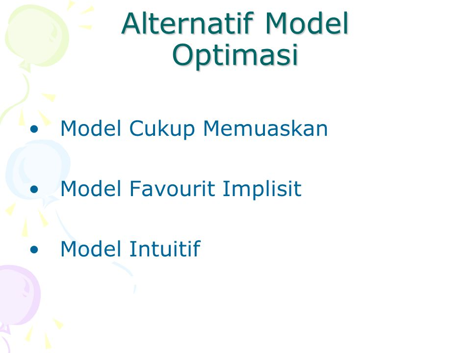 Alternatif Model Optimasi