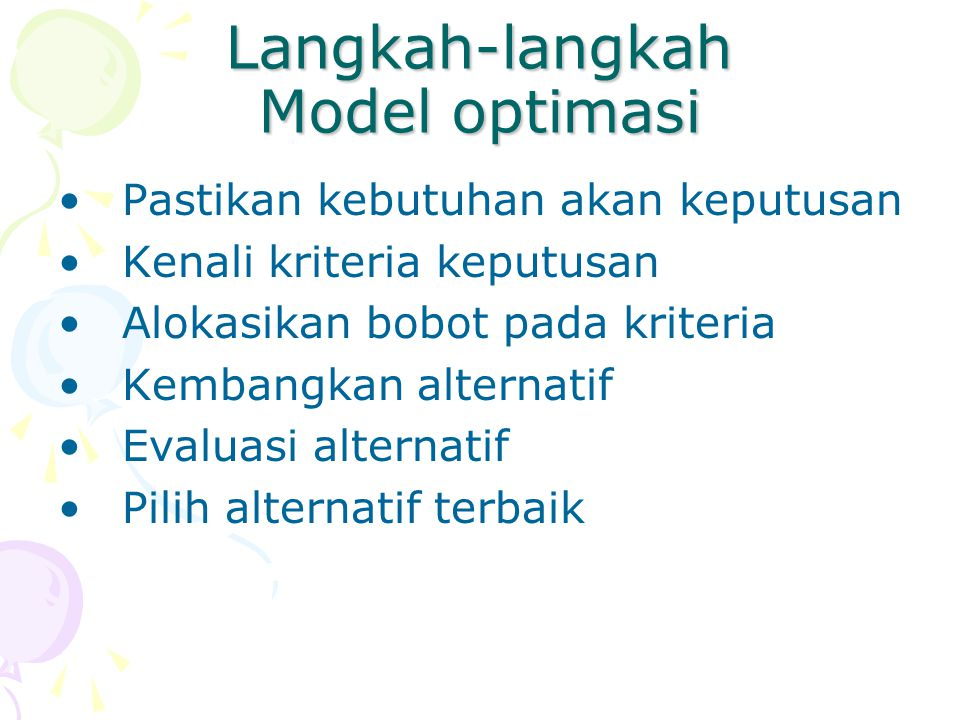 Langkah-langkah Model optimasi