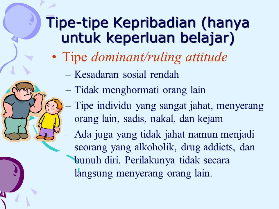 Tipe-tipe Kepribadian (hanya untuk keperluan belajar)