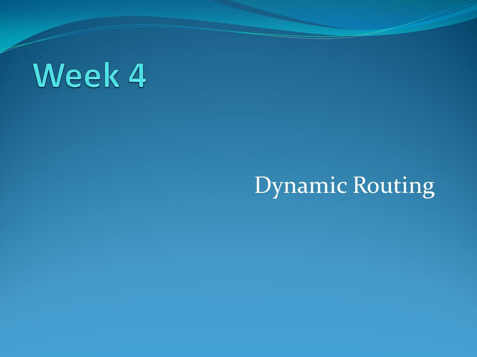Week 4 Dynamic Routing