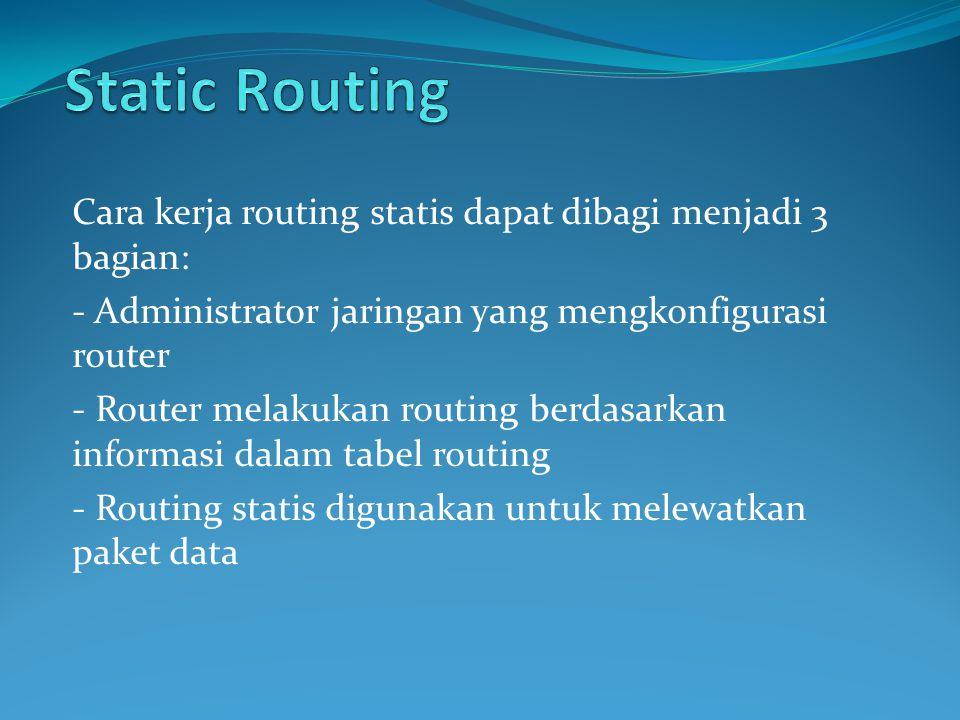 Static Routing Cara kerja routing statis dapat dibagi menjadi 3 bagian: - Administrator jaringan yang mengkonfigurasi router.