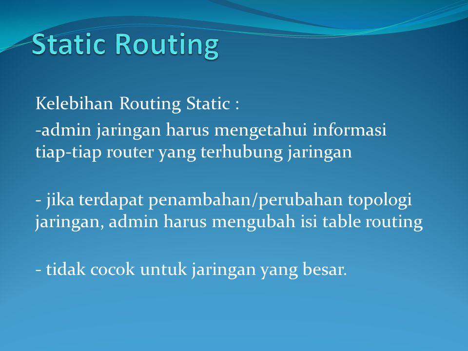 Static Routing Kelebihan Routing Static :