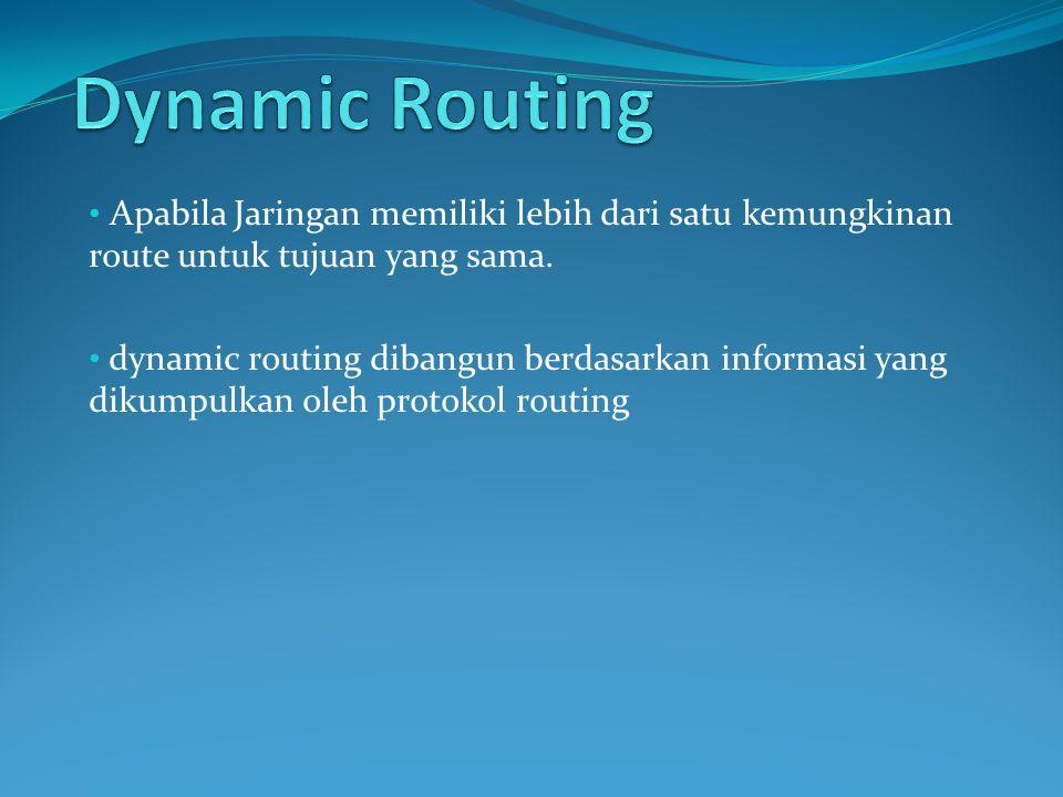 Dynamic Routing Apabila Jaringan memiliki lebih dari satu kemungkinan route untuk tujuan yang sama.