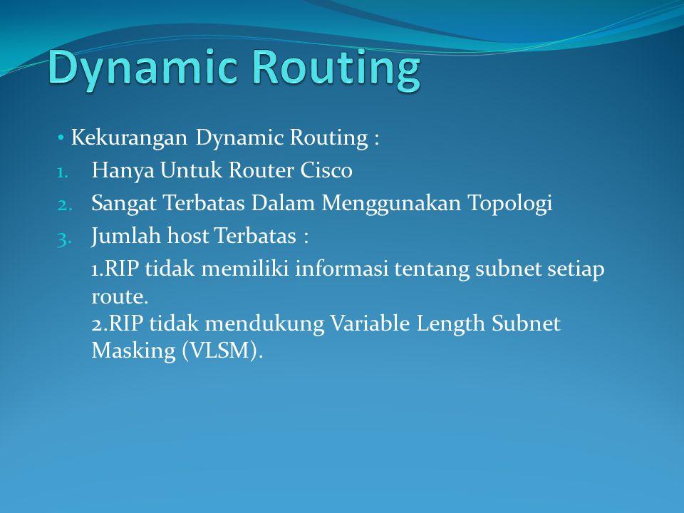 Dynamic Routing Kekurangan Dynamic Routing : Hanya Untuk Router Cisco
