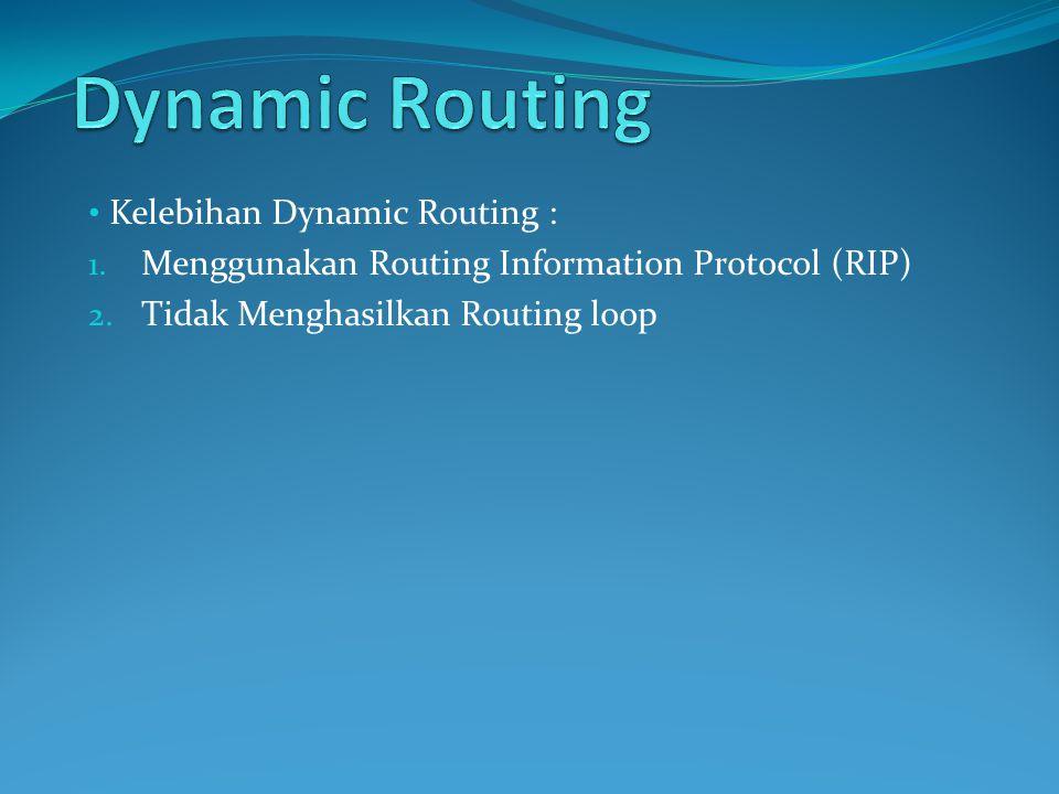 Dynamic Routing Kelebihan Dynamic Routing :