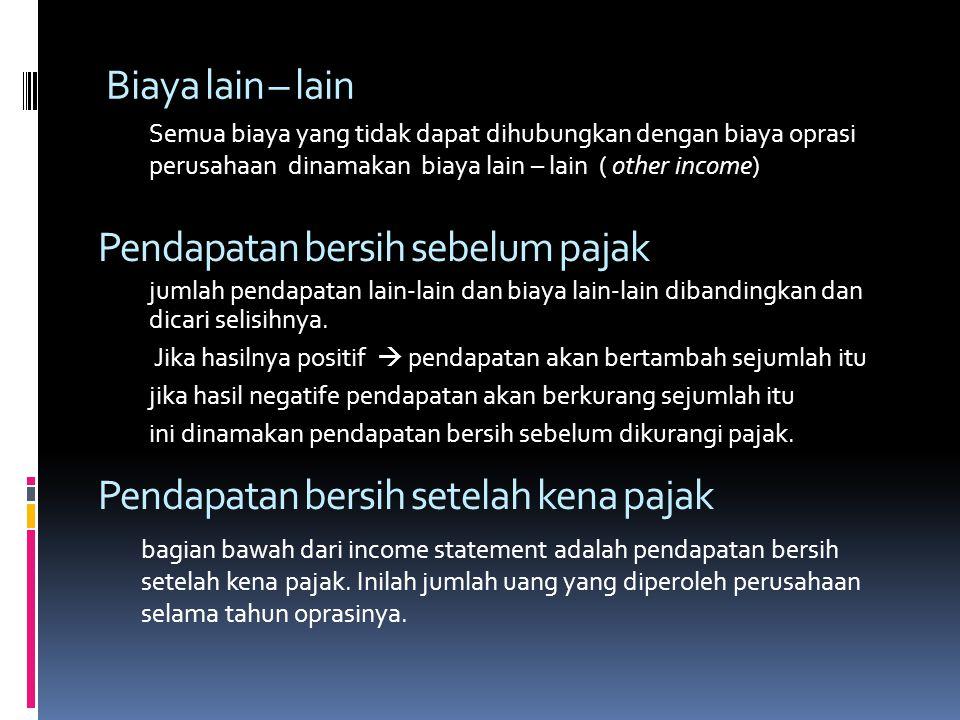 Pendapatan bersih sebelum pajak