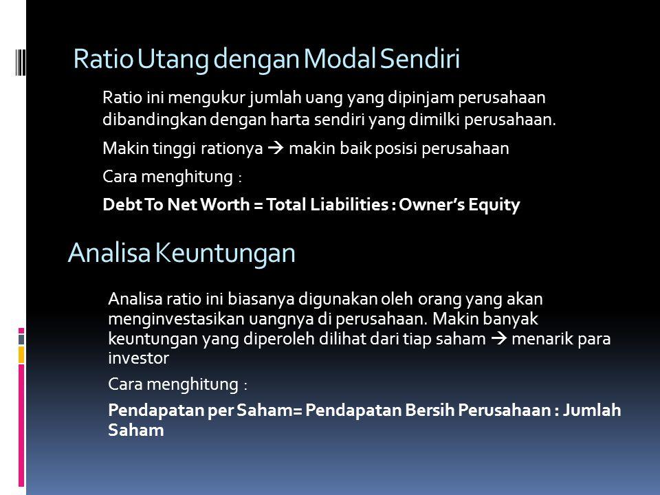 Ratio Utang dengan Modal Sendiri