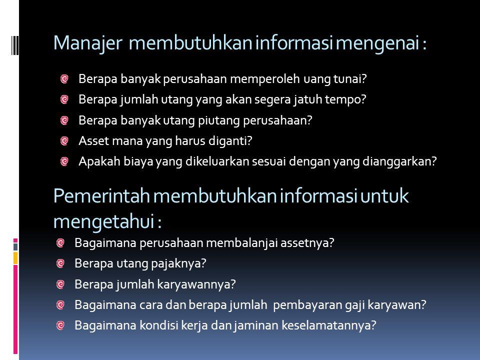 Manajer membutuhkan informasi mengenai :