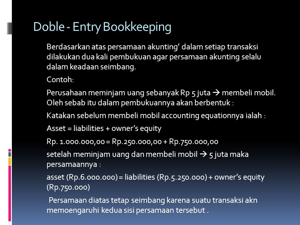 Doble - Entry Bookkeeping