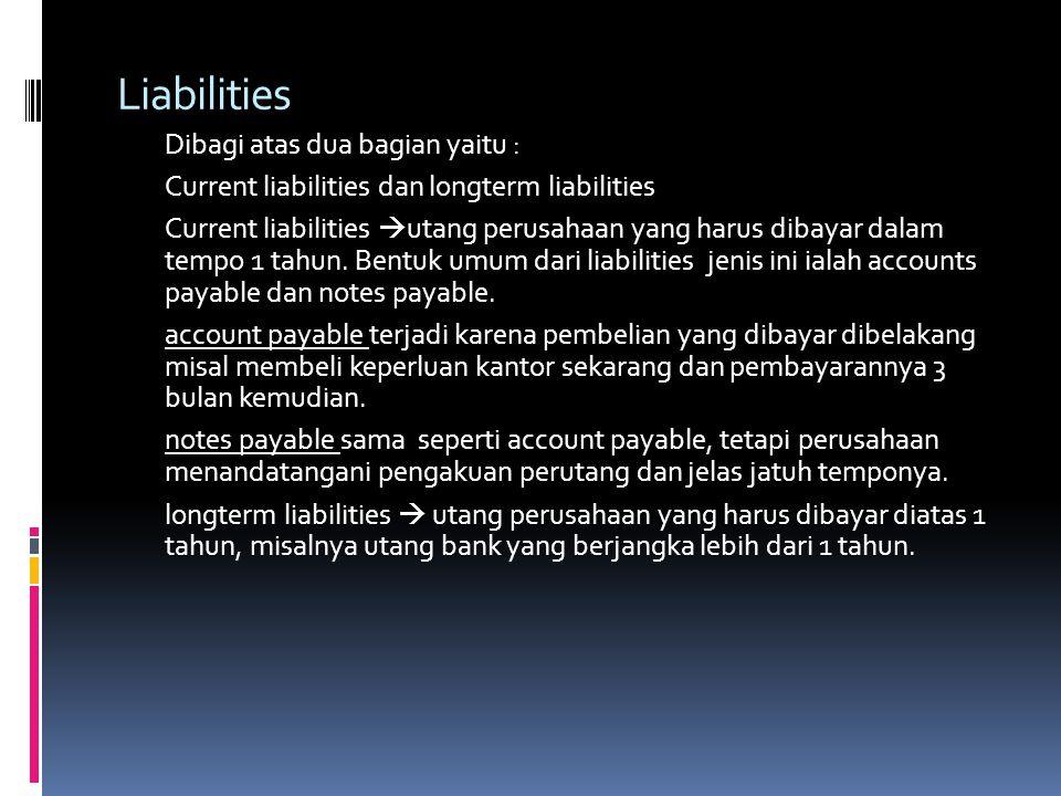 Liabilities Current liabilities dan longterm liabilities