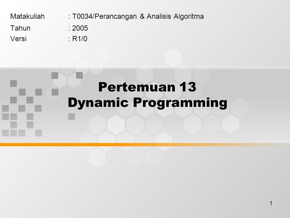 Pertemuan 13 Dynamic Programming
