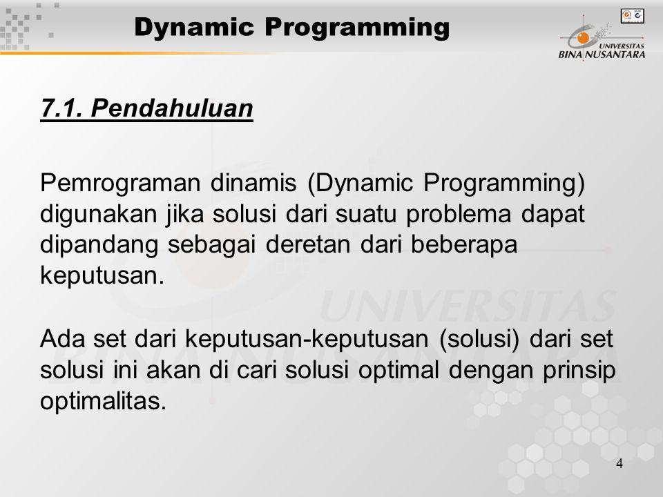 Dynamic Programming 7.1. Pendahuluan.