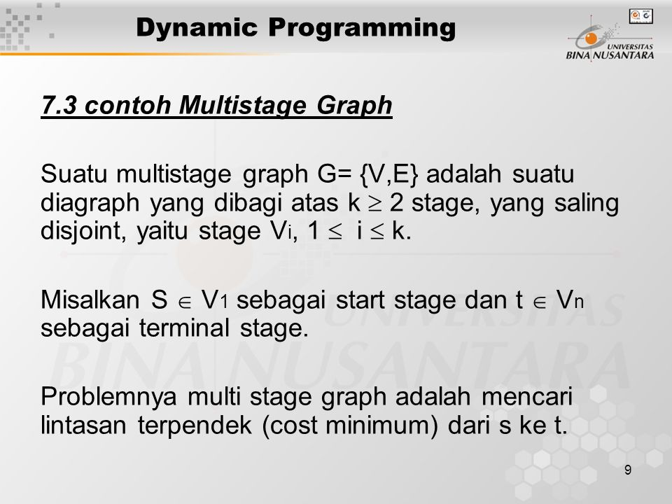 Dynamic Programming 7.3 contoh Multistage Graph.