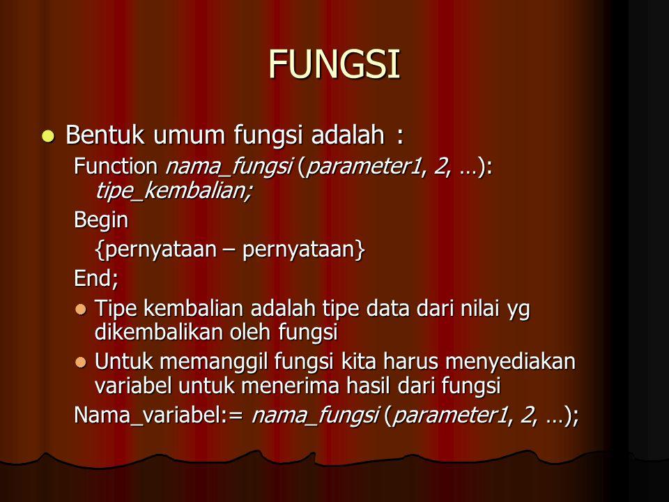 FUNGSI Bentuk umum fungsi adalah :